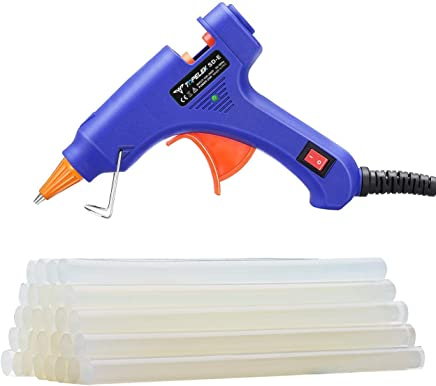 Hot Glue Gun, TopElek Mini Glue Gun Kit with 30pcs Glue Sticks, High Temperature Melting Glue Gun for DIY Small Projects, Arts and Crafts, Home Quick Repairs,Artistic Creation(20 Watts, Blue)