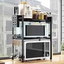 YLMF Estantería extensible para horno de microondas, alta carga, panel de barniz negro para hornear, tamaño 79,1 x 37,3 x 43-64 cm