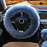 Ogrmar Winter Warm Faux Wool Steering Wheel Cover with Handbrake Cover & Gear Shift Cover for 14.96' X 14.96' Steeling Wheel in Diameter 1 Set 3 Pcs (Grey-Blue)