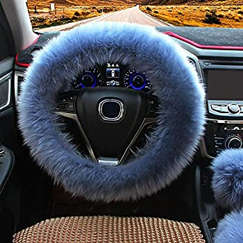 Ogrmar Winter Warm Faux Wool Steering Wheel Cover with Handbrake Cover & Gear Shift Cover for 14.96  X 14.96  Steeling Wheel in Diameter 1 Set 3 Pcs  Grey-Blue