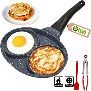 2 Hole Egg Frying Pan - Nonestick Egg Pan Divided Frying Pan - Aluminium Alloy Fried Egg Burger Pan for Breakfast,Suitable for Gas Stove & Induction Cooker,Safe and PFOA-Free