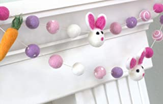 "Bunnies & Carrots Easter Spring Felt Garland- Pink, Lavender- 1"" (2.5 cm) Wool Felt Balls"