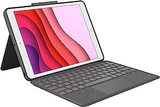 Logitech Combo Touch for iPad 7th Gen, Backlit keys, iOS Shortcut Keys, Eng + Ara Keyboard- Graphite