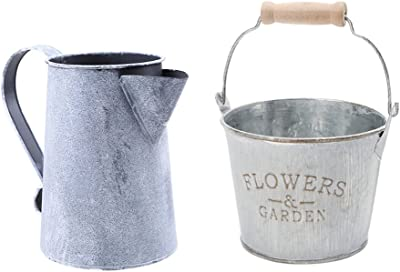 Serenable Set of 2 French Country Vintage Style Rustic Metal Garden Decor Bucket/Centerpiece Vase/Flower Holder, 1 & #5