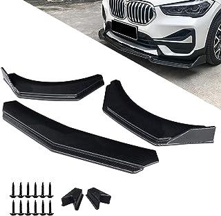 Universal Front Bumper Lip Spoiler Black Carbon Fiber Lines Car Front Bumper Lip Splitter Trim Protection Spoiler Adjustable Car Front Spoiler Wing 3pcs