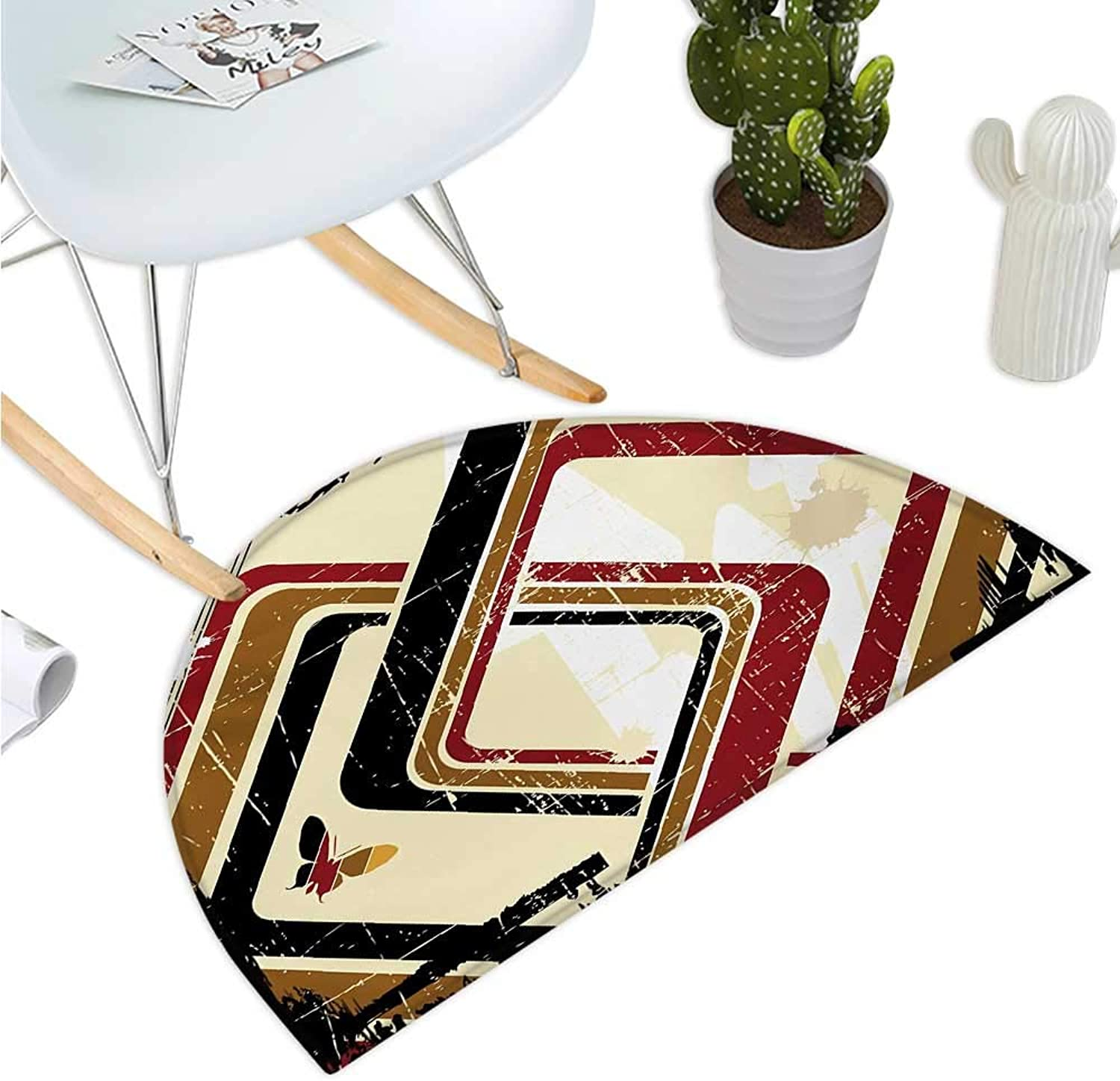 Abstract Half Round Door mats Trippy Forms in Grunge Effects Butterflies Retro Illustration Entry Door Mat H 35.4  xD 53.1  Pale Yellow Black Ruby Caramel