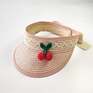 Asdfnfa Sun Hat, Child Straw Hat, Summer Sun Protection, Empty Top Hat (Color : Pink)