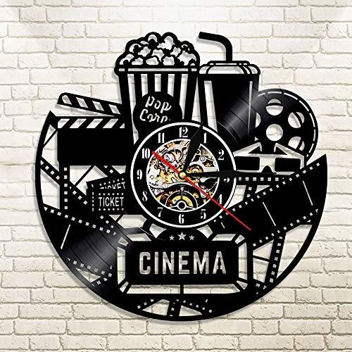 FDGFDG Cinema Vinyl Record Reloj de Pared Reloj de diseño Moderno Reloj de película Reloj de Pared Reloj de Tiempo Coca-Cola de Palomitas de maíz para Regalo de Amante de la película