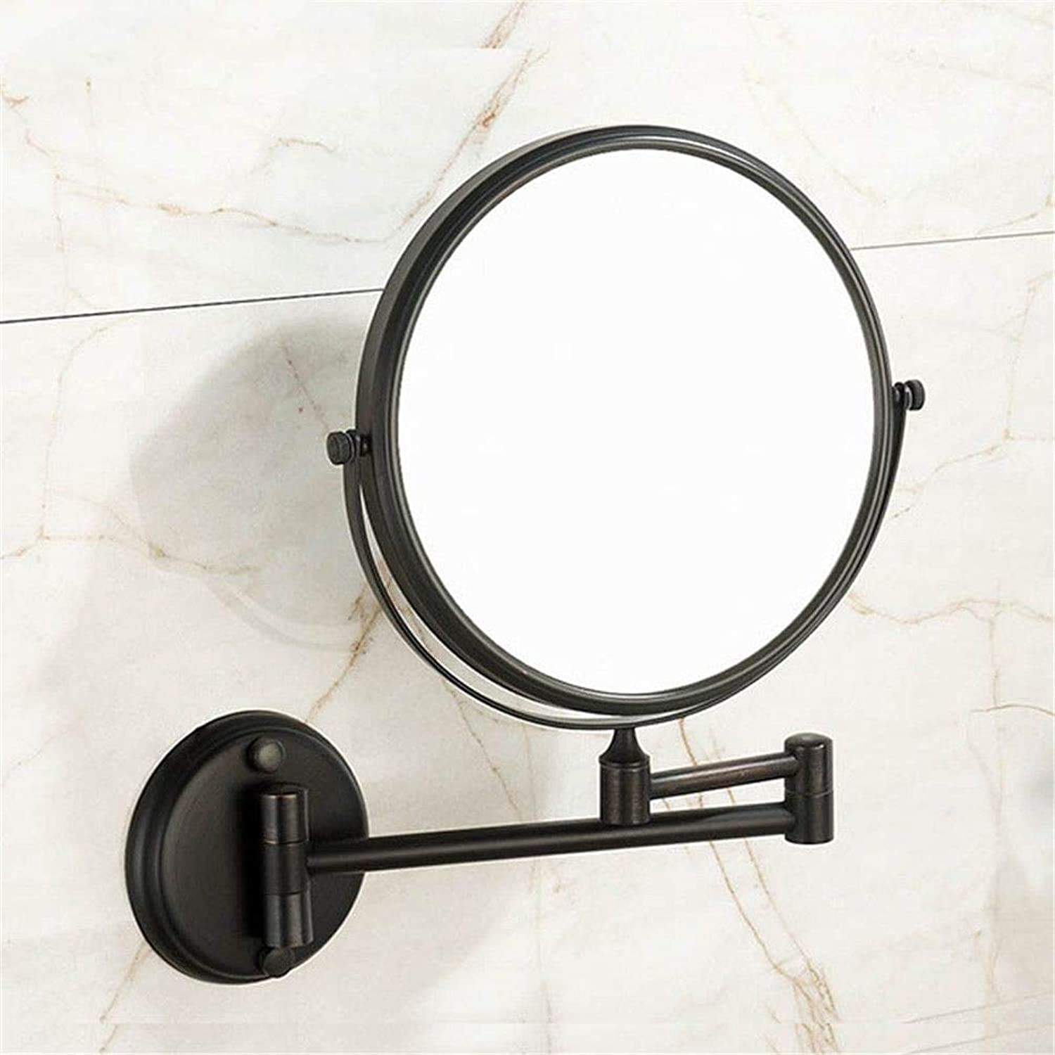 LUDSUY Oil Rubbed Bronze 8 Double Side Bathroom Folding Brass Shave Makeup Mirror Wall Mounted Extend with Arm Round 3X Magnifying