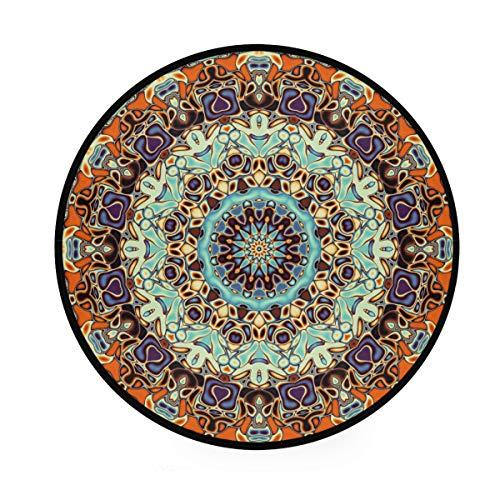 Bigjoke Teppich, rund, florales Mandala, indisches Tribal-Muster, rutschfest, rund, für den Innenbereich von Kindern, Babys, Wohnzimmer, Schlafzimmer, Flur, Heimdekoration, Durchmesser 91,4 cm