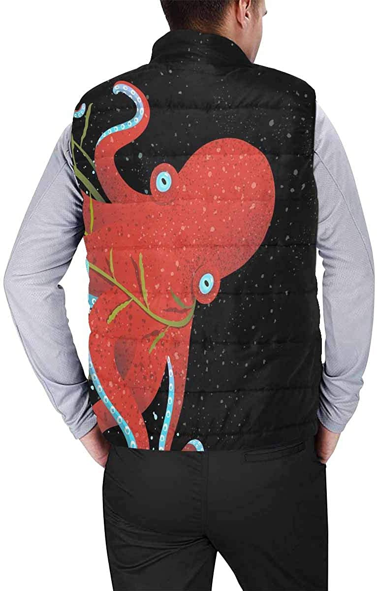 InterestPrint Men's Soft Full Zip Sleeveless Jacket for Running, Hiking Red Lip, Lip Care and Beauty