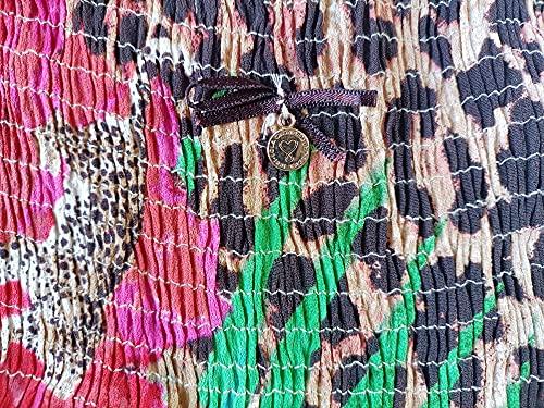 Lola Casademunt Vestido Mujer Largo Estampado Flores y Leopardo Cuello V Tirantes Sin Mangas Casual Verano Fiesta Elegante Moda Playa Boda Ligero (Numeric_38)