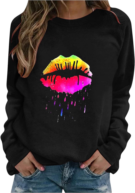 Toeava Womens Crewneck Graphic Lips Sweatshirts, Lightweight Long Sleeve Pullover Casual Sweatshirt Tops Blouse Shirt