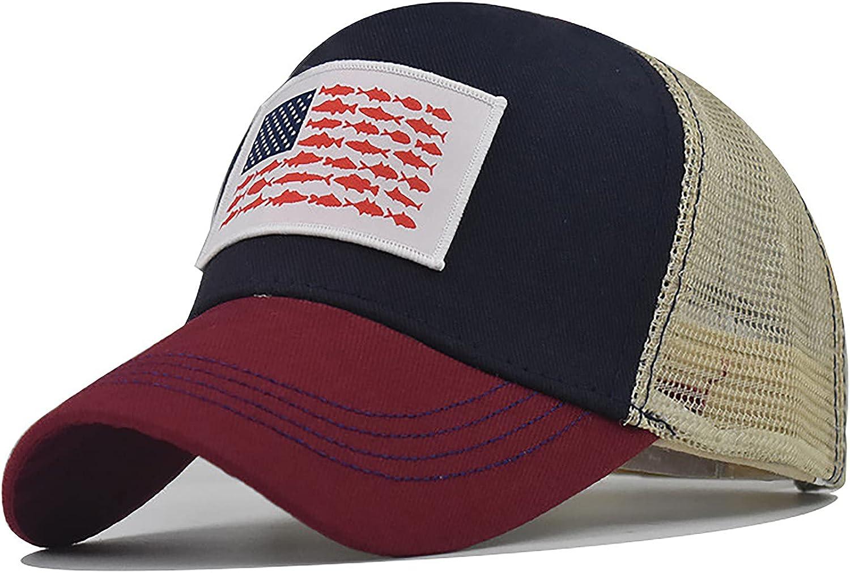 American Fish Flag Fishing Hat - Classic Fish Flag Trucker Hat Snapback Mesh Cap for Fishing Lover