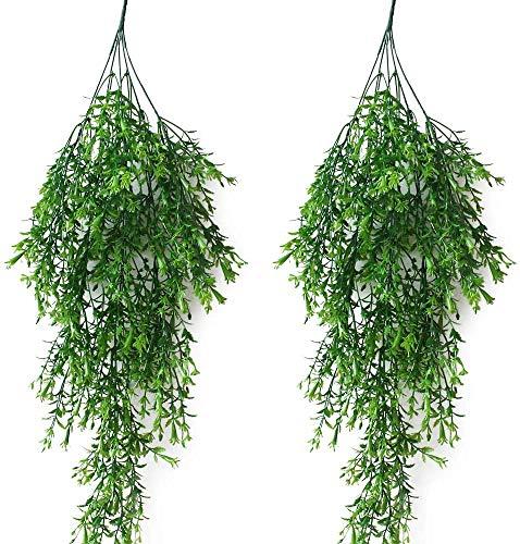 JaneYi 2 Stück Künstliche Nachgestellte Pflanze Rebe Kunststoff Laub Efeu Gefälscht Trauerweide Efeu Hängende Weinpflanze mit grünen Lilien Blumen für Innen Draußen Haus Büro Garten Spalier Dekor