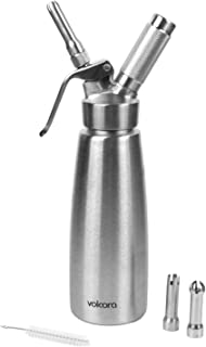 500ml Stainless Steel Whipped Cream Dispenser, Dishwasher Safe Silver Professional Whipper, 1 Pint, 3 Decorating Nozzles