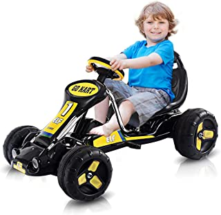 HONEY JOY Go Kart, Kids Ride On Car with Adjustable Bucket Seat, 4 Tires with Anti-Slip Strips, Pedal Kart for Boys & Girls 3-8 Years Old (Black)