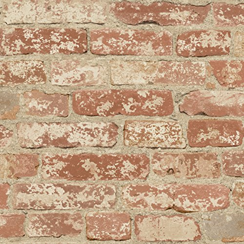 RoomMates Red Stuccoed Brick Peel and Stick Wallpaper