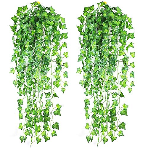 Green Artificial Leaf Vine Ivy Plant Plastic Silk Cloth Boston Ivy Leaf Green Vines Home Hotal Decoration Greenery Plant Reed flowers, wedding party