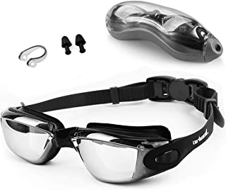 Zerhunt Swim Goggles, Swimming Goggles, UV 400 Protection Anti Fog No Leaking Wide View Pool Goggles with Ear Plug Nose Clip & Protective Case for Women Men Adult Youth
