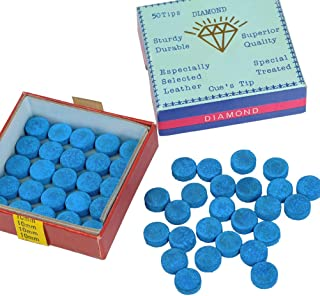 YOTINO 50Pcs Azul Billar Tiza Estándar Snooker Cue Tips Puntas de Repuesto de Billar con Almacenamiento de Plástico Caja para Punteras de Taco para Billar