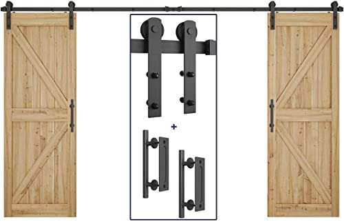 """high quality 10ft Heavy Duty lowest Double Door Sliding Barn Door Hardware Kit + 2X 12"""" Pull and Flush Barn Door Handle outlet sale Set outlet sale"""