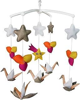 Jouet de décoration de lit bébé Mobile musical musical pour berceau fait main en tissu non tissé D04