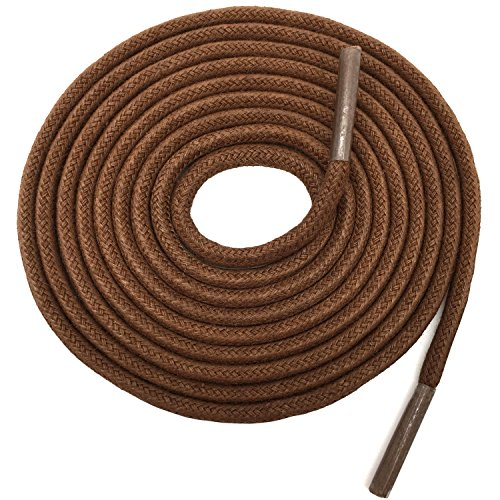 YFINE 23.62'Inch Round Waxed Dress Shoes Shoelaces Boots Shoe Laces Light Brown (2 Pair)