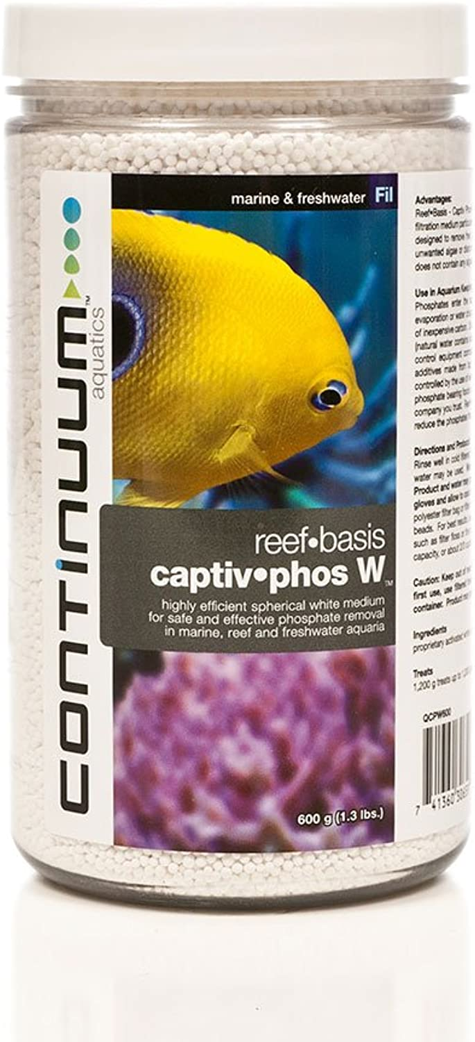 Continuum Aquatics ReefBasis CaptivPhos W, Highly efficient Spherical White Medium for Safe & Effective Phosphate Removal in Marine, Reef & Freshwater Aquaria, 600g (1.3lbs)