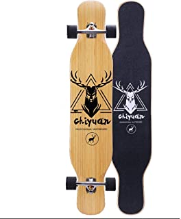 ZAIHW Dancing Bamboo Longboards Skateboard Pro Speed Complete Drop Down Through Deck - Color Logo and Natural Wood - for Carving Downhill Cruising Freestyle Riding