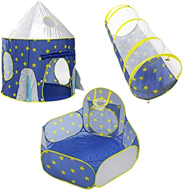 NUOBESTY 3pcs Boy Rocket Ship Play Tent Kids Spaceship Toy Space Ship Tents Playhouse for Indoor Outdoor Fun Games Gifts