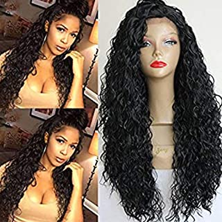 PlatinumHair Lace Front Wigs Long Curly Synthetic Wigs for Black Women Black Color Loose Curl Wig Heat Resistant Fiber Hair 180% Density Wig 24 inch