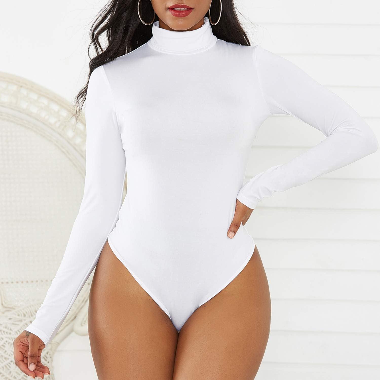 Zando Bodysuit for Women Leotards Womens Mock Turtleneck Long Sleeve Tank Tops Bodysuit Jumpsuits Leotard Women Clothing