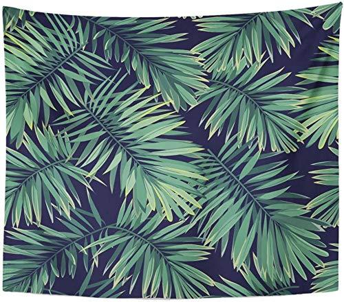 AdoDecor Tropic Dark Tropical Pattern Plantas exóticas Green Phoenix Palm Tapiz Decoración para el hogar Colgante de Pared para Sala de Estar Dormitorio Dormitorio 150x200cm/59 * 79pulgadas