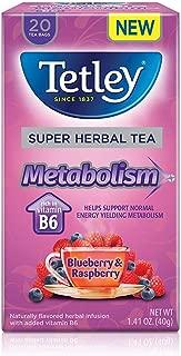Tetley Super Herbal Tea Metabolism, Blueberry & Raspberry, 20 Tea Bags (Pack of 4)