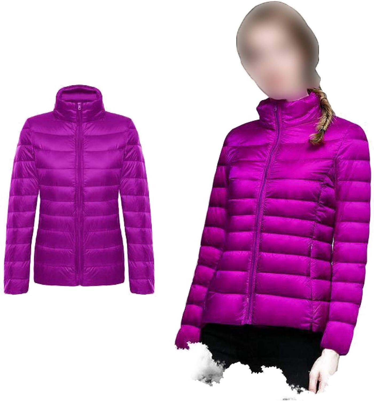 Women's Packable Puffer Jacket with Stand Collar Lightweight Full-zipper Padding Jacket