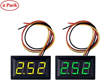 Oak-Pine 2PACK Voltmeter DC 0-100V 0.56 Inch 3 Wire LED Digital Display Panel Volt Meter Voltage (Green and Yellow)
