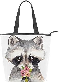 alaza Tote Canvas Schultertasche Nette Waschbär Blumen Handtasche