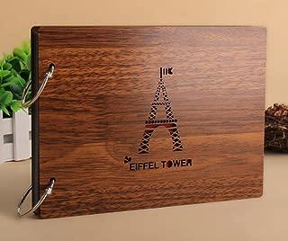 DIY Photo Album Wood Vintage Anniversary Scrapbook 8 X 6 Inches (Eiffel Tower)