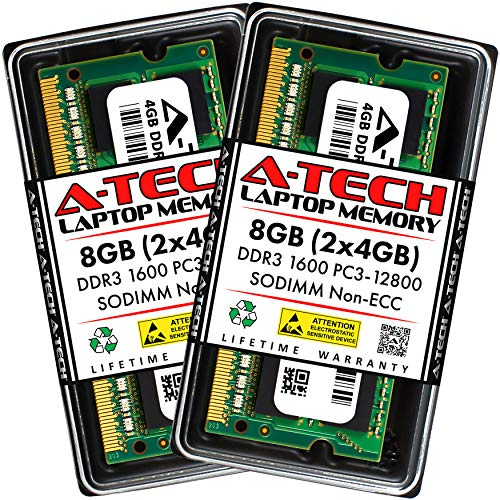A-Tech 8GB (2x4GB) DDR3 1600 MHz PC3-12800 SODIMM Laptop RAM Kit | 204-Pin Non-ECC Unbuffered Memory Upgrade Modules