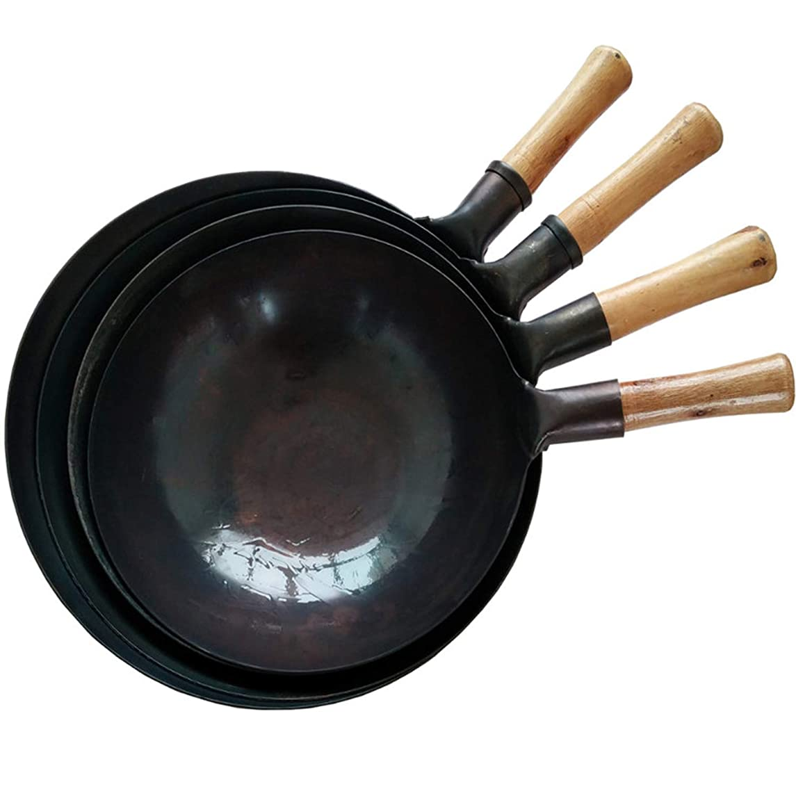 Wooden Handle Kitchen Cooking Pot 32/34/36 Cast Iron Skillet Cooker Universal Wok Restaurant Chef Stir Fry Special Wok Pan,36Cm