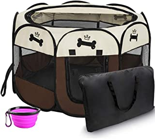 Hepeng Pet Playpen Tent Kennel and Carrying Case Collapsible Travel Bowl Indoor and Outdoor Use with Water Resistant and Removable Shade Cover for Dog/Cat/Rabbit Portable Puppy Playpen