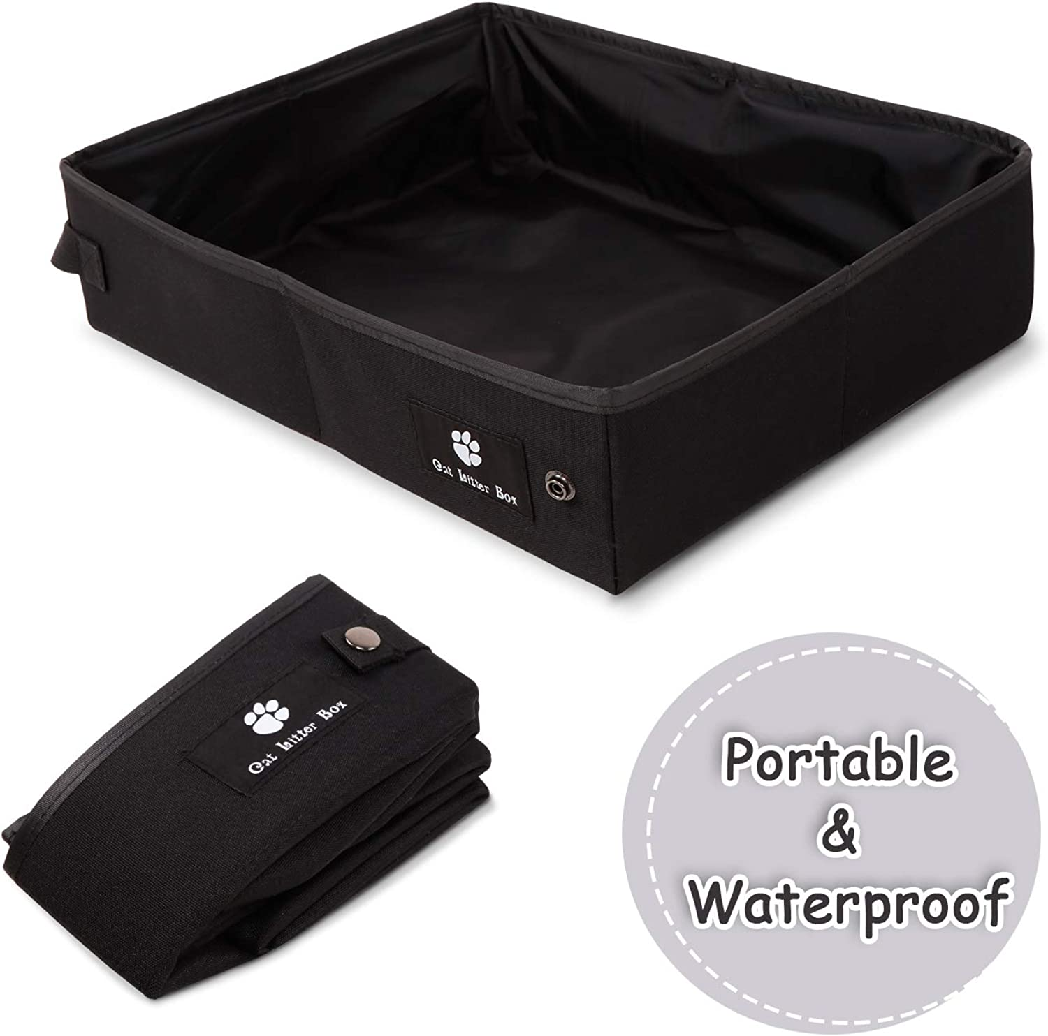 Anyshock Collapsible Portable Cat Litter Box for Travel Camping, Waterproof Open Litter Pan Carrier Easy to Carry and Clean Work Well as Portable Cat Beds(L, Black)