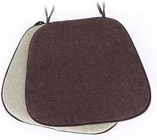 Shinnwa 椅子用 座布団 クッション 違う生地で両面使える 2枚セット 馬蹄形 ダイニングチェアクッション 洗えるカバー ひも付き 滑り止めシート付き 43*41CM コーヒー