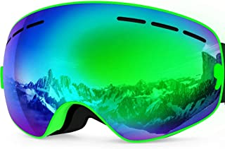 Zionor Lagopus X Mini Kids Snowmobile Snowboard Skate Ski Goggles with 100% UV Protection Anti-Fog Detachable Wide Angle Double Panoramic Lens for Youth