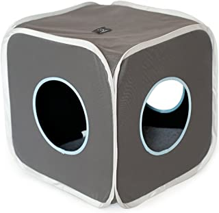 A4Pet Foldable Cat Cube,Cat Condo,Cat Bed,Cat Tunnel,  Cat Toy Hanging Ring, 15 L X 15 W X 16 H