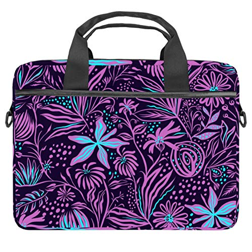 2021 Laptop Bag 22 inch Business Computer Laptop Case Laptop Sleeve Shoulder Messenger Bag Tablet Carrying Case for Women and Men Rosy Blue Plant Leaves Black Background