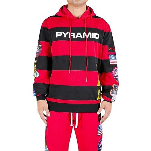 a31f804b8c7f2 Black Pyramid Men s Striped Space Hoodie Sweatshirt