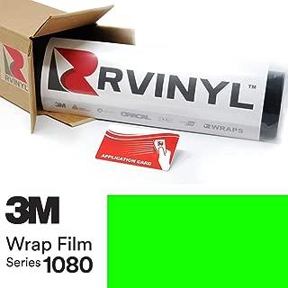 3M 1080 VCW17120 Satin NEON Fluorescent Green 5ft x 2ft W/Application Card Vinyl Vehicle Car Wrap Film Sheet Roll