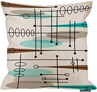 HGOD DESIGNS Soft Mid-Century Modern Atomic Inspired Throw Pillow Indoor Cover Pillow Case for Home Sofa(18in X 18in)